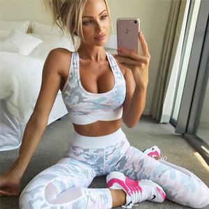 Frauen Zweiteiler Tops Und Hosen Anzug Mode Camouflage Print Set Weibliche Mesh Patchwork Leggings Weibliche Anzüge