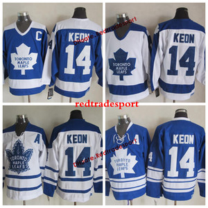 Vintage Toronto Maple Leafs Dave Keon Hockey Jerseys Home Blue para hombre Classic # 14 Dave Keon Stitch Hockey Shirts Un parche