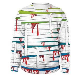 Rayas de sangre Vendaje Cadenas de sangre Impresión de la muñeca Hombres Mujeres Pulóver Sudadera Holloween Lovers Camiseta de manga larga Sudaderas con capucha Disfraz