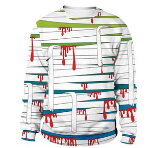 Sangue listrado Bandage Bloodstains Boneca Imprimir Mens Mulheres Pullover Camisola Holloween Amantes de Manga Comprida Tshirt Hoodies Traje