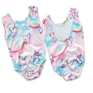 INS Hot Magical Unicorn Pattern Rose Bleu Une Pièce Maillot De Bain Sans Manches Filles Wear 2-6 T Enfants Maillots De Bain