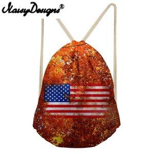 NOISYDESIGNS Женский Американский флаг Печать Красочный рюкзак на шнуровке Школьные сумки для подростковой мужской сумки