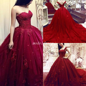 2018 Dark Red Ball Gown Quinceanera Dresses With Detachable Straps Sweep Train Appliques Prom Party Gowns For Sweet 15 vestidos de 15 anos