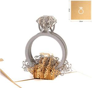 3D Pop Up Diamant Einladungskarte Ring Laser Cut Valentinstag Grußkarten mit Umschlag Postkarten