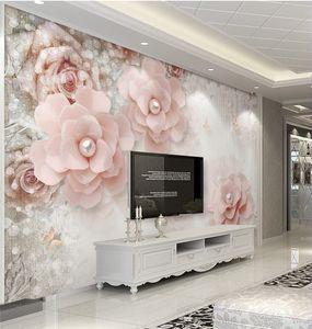 Papel de Parede 3d fiore carta da parati carte da parati per parete del salone della decorazione della casa papier peint qualsiasi muro di carta di formato personalizzato