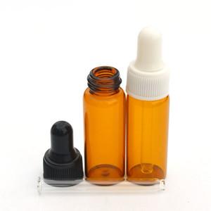 50pcs Mini 5ml bottiglia di vetro ambrato per profumo di olio essenziale Piccola bottiglia portatile vuoto fiale cosmetico trasparente contagocce