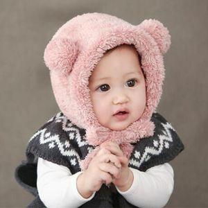 Cartoon animal bear hat cálido bebé recién nacido earflap beanie suave felpa infantil sombrero niño niña bebés foto tapa