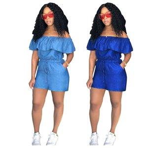 2018 Summer Shorts Jumpsuit Fashion Casual Jumpsuits Jeans Slash Neck Ruffles Women Jumpsuit Denim Overalls Rompers Girls Female