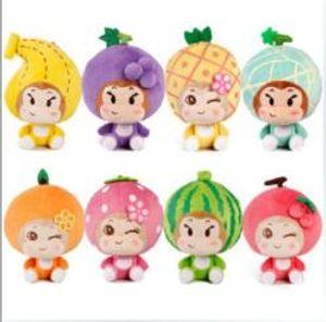 18cm Banana Strawberry Orange monkey Baby fruit plush toys Lovely childs soft stuffed Doll YH1510