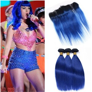 Straight 1B / Blue Ombre 13x4 Full Lace Frontal Chiusura con 3 Bundles Ombre Blue Two Tone Vergine peruviana Hair Tesse con Lace Frontal