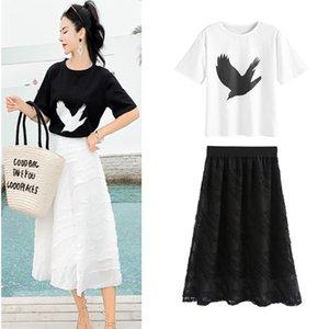 여성 Summmer 비둘기 버드 인쇄 짧은 소매 흰 코 튼 T- 셔츠 상위 Tees 및 젊은 여성 Tassels 치마 두 조각 세트 DY303