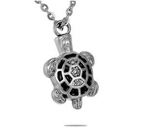 Collar personalizado personalizado de acero inoxidable tortuga grabado urn collar de botella de perfume cenizas cremación colgante de joyería