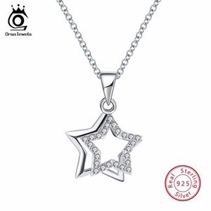 ORSA JEWELS 100% Real 925 Sterling Silver Pendentifs Colliers Brillant Cubique Zircon Star Forme Femmes Beaux Bijoux SN82