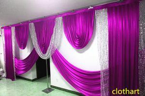 swags of 3m high * 6m wide s wedding ilver lentejuelas swag design wedding stylist swags para telón de fondo Cortina de fiesta Fondo de escenario cortinas