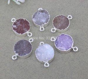 5pcs Druzy naturel Quartz pierre gemme perles Connecteurs ronds, Métal Druzy Connecteur Argent en couleur naturelle pour la fabrication de bijoux