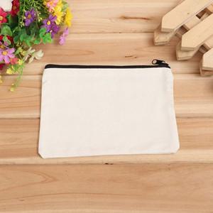 Toptan 19 cm x 15 cm boş tuval fermuar Kalem kutuları kalem torbalar pamuk kozmetik Çanta makyaj çantaları Cep telefonu debriyaj çanta özel logo