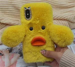 Теплый ручной утка искусственный пушистый мех волос плюшевые телефон чехол для ASUS Zenfone 3 ZE520KL / 3 Deluxe Z016D ZS570KL / ZE552KL