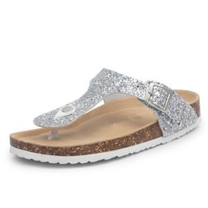 New Bling Beach Cork Flip Flops Slippers 2018 Casual Summer Women Sequins Print Slip on Slides Shoe Plus Size 35-45