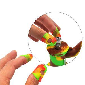 Atacado Dedo FDA capa de silicone Silicone Elastic Mergulhe Cap Off Clipe Ferramenta Oil Manicure Limpeza Cera Acessórios fumar