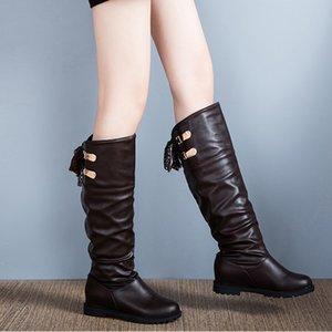 YOUYEDIAN Kniehohe Stiefel Frauen Weiches Leder Knie Stiefel Komfortable Frauen Lange Stiefel Schuhe scarpe donna estive comode # a35