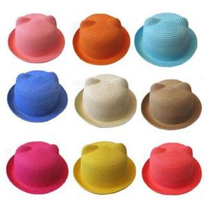 Детские соломенная шляпа лето дети кошка уха шляпы прекрасный пляж Cap дети характер девушки мальчики твердые ВС Hat женщины мужчины скупые поля шляпы 50 шт.