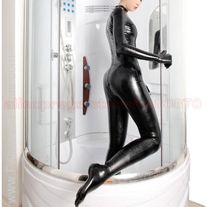 Sexy Women Latex Rubber Zentai Bodysuit Rubber Latex Female Catsuit Clothes Attached to Socks and Gloves S-LC290
