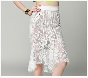 Hohe Qualität Frauen Fischschwanz Röcke Ausgehöhlte Spitze Röcke Mode Kleid Europäischen Stil Partei Dünnen Gesäß Kleid Neue Design