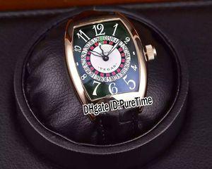 Neue 8880 Las Vegas Casino Russische Plattenspieler Rose Gold Grünes Zifferblatt CAL.SK Automatische Herrenuhr Grüne Lederband Günstige Puretime A35a1