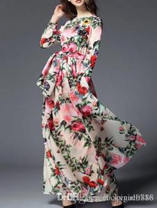 2018 nuovo V maniche lunghe stampa cintura, forchetta divisa, vestito da spiaggia alla moda, grande abito ciondolo
