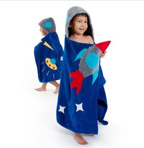 높은 품질 새로운 로켓 인 어 스타일 두건 된 어린이의 판쵸 베이비 타올 모델링 아기 잠옷 목욕 가운 유아 해변 타월