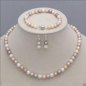 Nouveau 7-8mm blanc rose violet perles d'eau douce collier Bracelet boucles d'oreilles