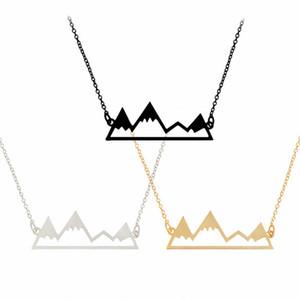Ciondoli di moda scavati collane con ciondolo a picco di montagna per donna Regalo in lega di argento nero oro nero