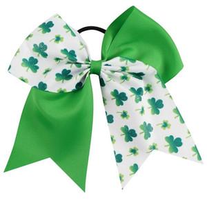 """15pcs / lot 7 """"Meisjes Glitter Clover Lint Cheer Bow Met Elastische Band Handgemaakte Patchwork San Patricio Haaraccessoires"""