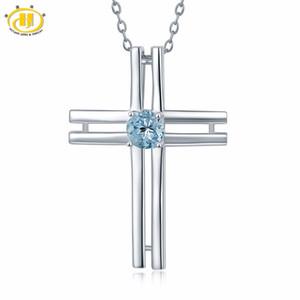 Hutang натуральный драгоценный камень аквамарин кресты кулон ожерелье твердые стерлингового серебра 925 тонкой Моды ювелирные изделия для женщин подарок новый
