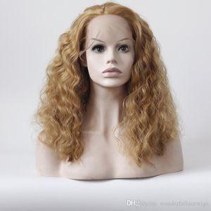 Мода Black Girl Синтетические Парики Шнурка Kinky Вьющиеся Коричневые Женщины Натуральные Парики Средние Длинные Синтетические Волосы дешево