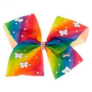 VENTA CALIENTE JoJo Siwa RAINBOW Gran Gem-tastic Hair Bow con arco redondo en forma de diamantes de imitación chica pelo arco headwear Accesorios para el cabello! 8pcs /