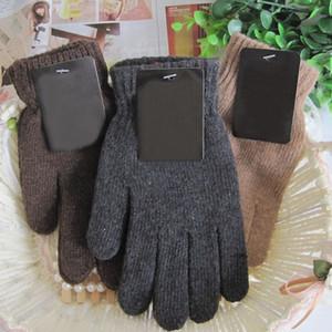 الخريف الشتاء الرجال محبوك قفازات الذكور رشاقته الصوف الحراري قفازات القفازات الأسود براون D18110806