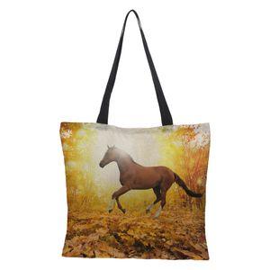 CROWDALE Impressão frente e verso Cavalo Impresso Mulheres de Luxo Grande Saco de Compras Tote Sholder Bag para Senhoras Bolsa De Linho Bolsa de Mulher