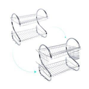 2 rangées support de séchage de plateaux de maison de lavage titulaire panier en fer plaqué grande cuisine évier plat égouttoir support de rangement organisateur