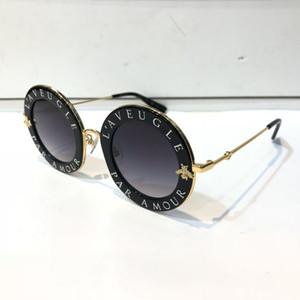 De luxe 0113S lunettes de soleil pour les femmes de la mode 0113 Designer ronde Summer Style noir cadre en or de haute qualité UV Protection Lens Come With Case