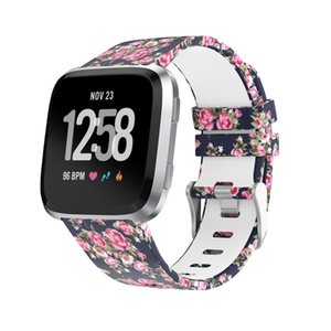 pour Fibtbit Versa bandes, remplacement imprimé Bracelet en silicone souple Sport Band Bracelet pour 2018 Fitbit Versa montre Smart Watch, de grande taille