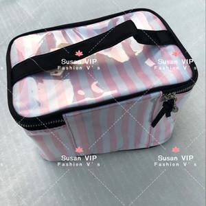 artículo de la manera inteligente de rayas marca de cosméticos del organizador caso de lavado femenina maquillaje del bolso de la moda bolsa de almacenamiento Organizador Mujeres Higiene