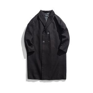 Estilo vintage Aumento de Worsted Abrigo de engrosamiento de algodón Hombres Abrigo 2018 Invierno Casual Chaqueta de doble botonadura Ropa masculina M-XL