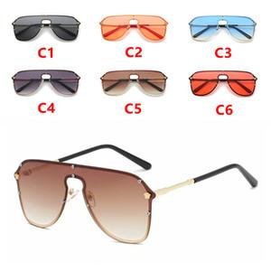 Nueva marca de metal sin marco gafas de sol de moda Hundred Tower gafas de sol grandes con marco UV400 Goggle Gafas de sol 6 colores opcionales