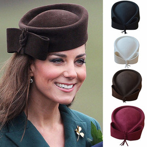Berretto Beret Donna Cappello Fascinator Teardrop Dome Top Bowknot Fancy Wool Pillbox Cappello per Lady Cocktail Racing Wedding Party Church