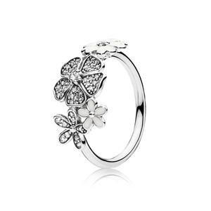 Authentische 925 Sterling Silber Weiß Emaille Blumen RING Für Pandora Schöne Frauen Ehering Schmuck Mit Original Box