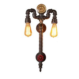크리 에이 티브 개성 카페 바 레스토랑 발코니 레트로 로프트 산업 바람 아트 시계 물 파이프 벽 램프