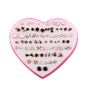 Fashion boxed shiny 36 pairs of wild earrings set Pendientes japoneses y coreanos