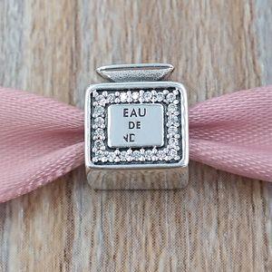 Autêntica 925 libras esterlinas grânulos de assinatura Perfume encanto encantos único estilo europeu jóia de Pandora pulseiras Colar 791889CZ