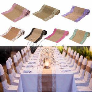 275X30 CM Vintage de encaje de arpillera de lino mesa corredor Hessian Table Runner mantel Wedding Party Decor mantel CNY657